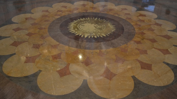 The decorated floor in the Library of Congress lobby