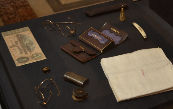 The contents of President Lincoln's pockets when he was assassinated are on temporary display