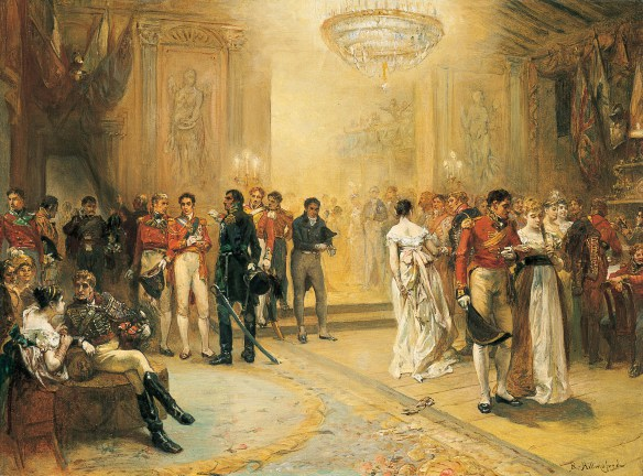 A marvellous but fancifully gilded painting of the most famous Ball in History.